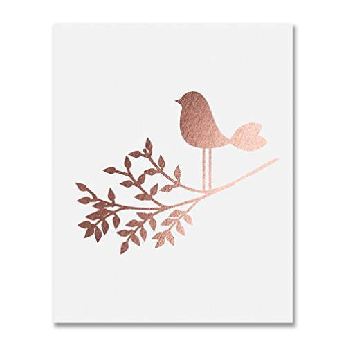 (Bird on a Branch Rose Gold Foil Art Print Baby Bird Decor Nursery Poster Girl's Room Modern Nature Decor 8 inches x 10 inches A30)