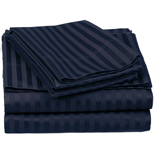 100% Egyptian Cotton 650 Thread Count Queen 4-Piece Sheet Set, Deep Pocket, Single Ply, Stripe, Navy Blue (650 Thread Sateen)