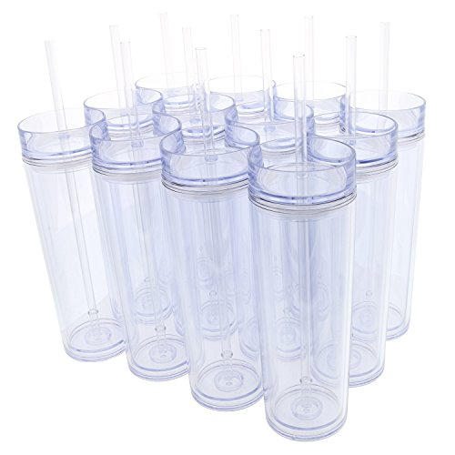 Set of 12 Double Wall Skinny Acrylic Tumblers 16 Oz, with Straws (Clear) (Plastic Tumblers With Lids And Straws Wholesale)