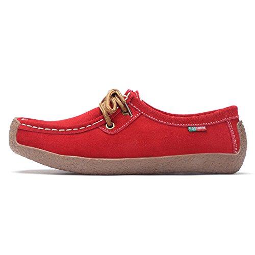 Stq Lace Up Suède Flats Schoenen Mode Comfort Vierkante Neus Slak Werk Sneakers 806-1 Rode Nepbont