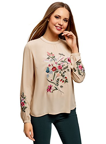 oodji Ultra Women's Embroidered Blouse in Flowing Fabric, Beige, 6
