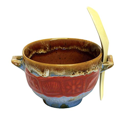 Rockin Gear Soup Bowl and Miso Spoon Combo - Ceramic Bowls for Soup, Rice, Noodle and Cereal Bowl with Spoon Holder (Red)