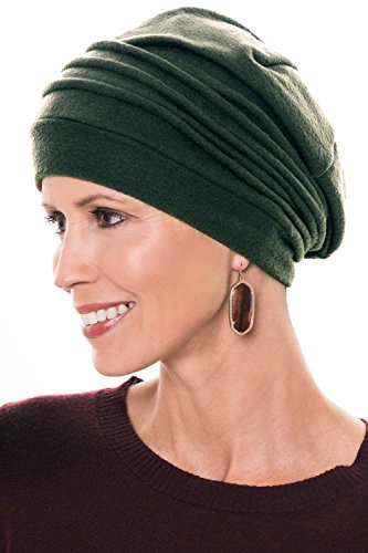 Womens Classic Chamois - Fleece Chamois Slouchy Cap: Snood Head Covering for Women - Cancer, Chemo Hat Hunter Green