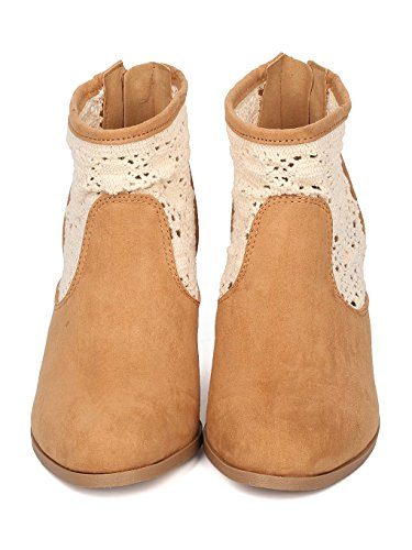 Crochet GE16 Ankle Tan Qupid Bootie Chunky Heel Suede Faux Women C11wxSqpt