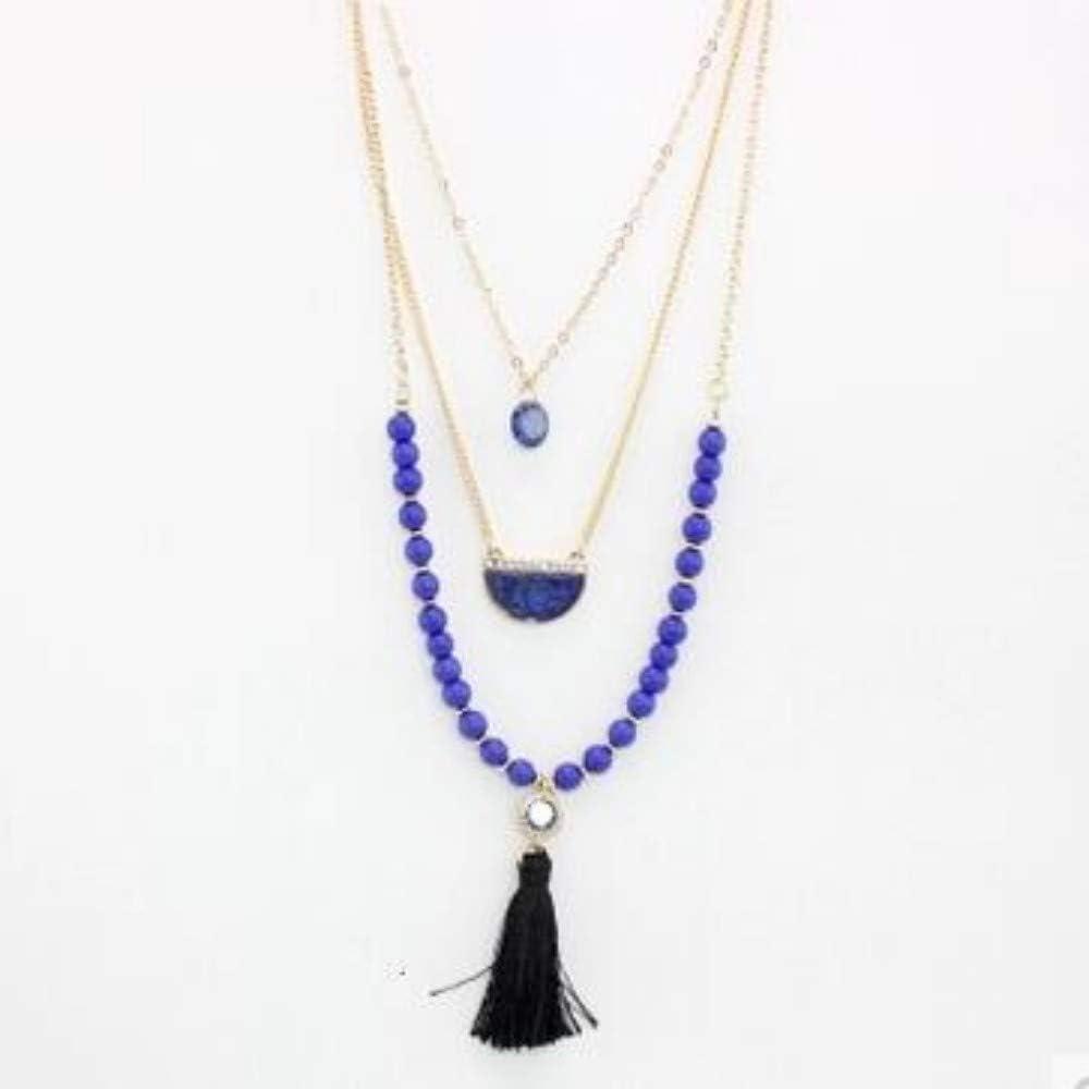 Collar,Joyería Cristal Azul Multicapa Borla Negra Collar Semi-Circular De Piedra Natural Beads Cadena con Collar Largo Partido Femenino Accesorios Joyas
