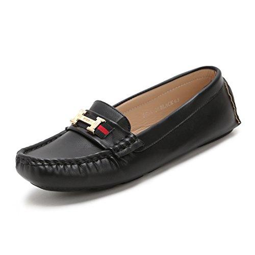 Hawkwell Women's Comfort Slip-on Loafer Driving Shoes,Black PU,7 B(M) US
