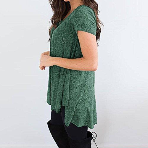 irrgulier Taille Ete Chic Printemps Top T HUI Vert Courtes Femme Shirt Tee Grande Shirt Lache Col Manches HUI Rond Soiree Tunique Ourlet Haut EtTwqw