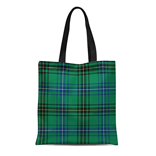 Semtomn Cotton Line Canvas Tote Bag Plaid Clan Henderson Green and Blue Tartan Scottish Mackendrick Reusable Handbag Shoulder Grocery Shopping Bags