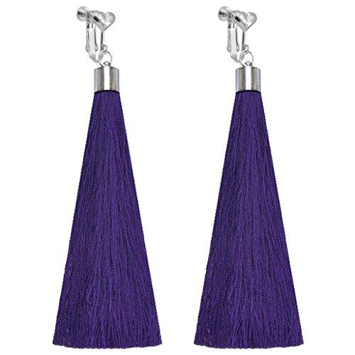 Bohemian Clip on Earrings Heart Clips Purple Long Silk Fringe Thread Tassel Dangle Wedding Prom Earring ()