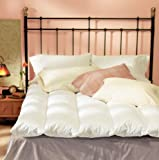 Feather Bed Mattress Topper: Natural 100-percent Cotton Baffle-channel Featherbed and Cover Set - KING