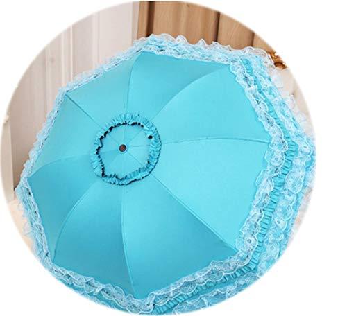 (Umbrellas Women Lace Umbrella Dance Parasol Sun Umbrella Black Coating UV Protection Folding Three-folding Umbrella Girls YM014,blue)