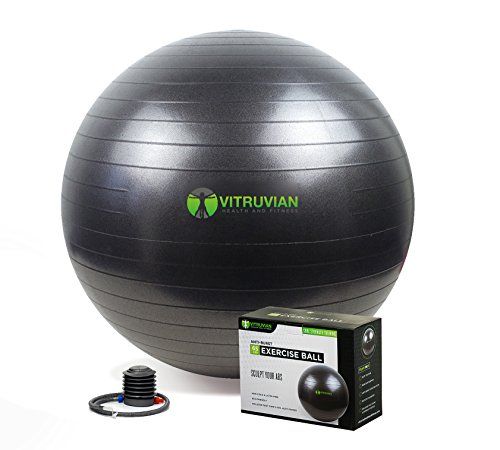 HUGE SALE! Vitruvian Health and Fitness - 2000lbs Exercise Ball with Pump and Workout Poster
