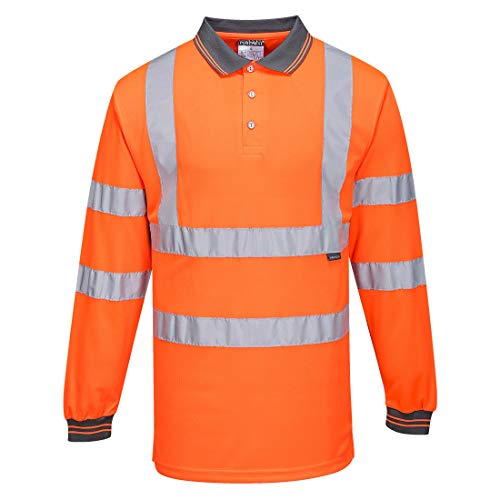 Portwest S277 Workwear Men's Long Sleeve Hi-Vis Polo Shirt, Orange, Small -