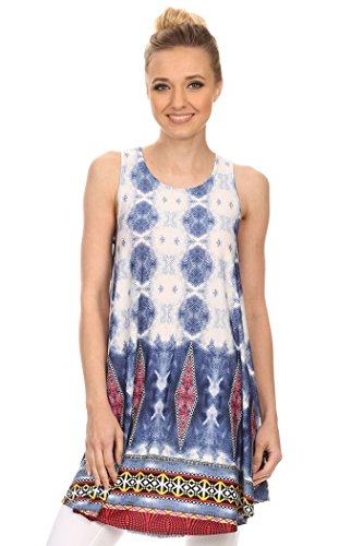 Women's Print Sleeveless Relaxed Style Tunic Top. MADE IN USA (S, White/Blue Circle/Red Dia/Yellow Border) (Print Top Border Tunic)