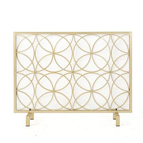 - GDF Studio 301549 Veritas Single Panel Gold Iron Fireplace Screen,