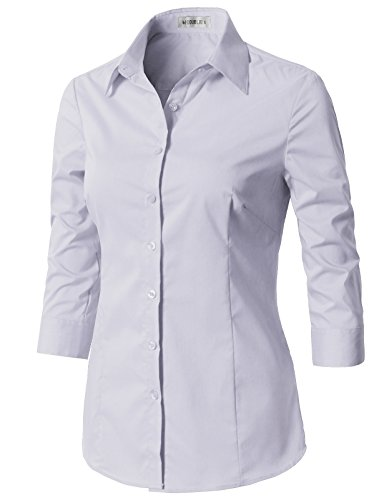 CLOVERY Women's Basic 3/4 Sleeve Formal Work Wear Simple Shirt with Stretch Lilac L