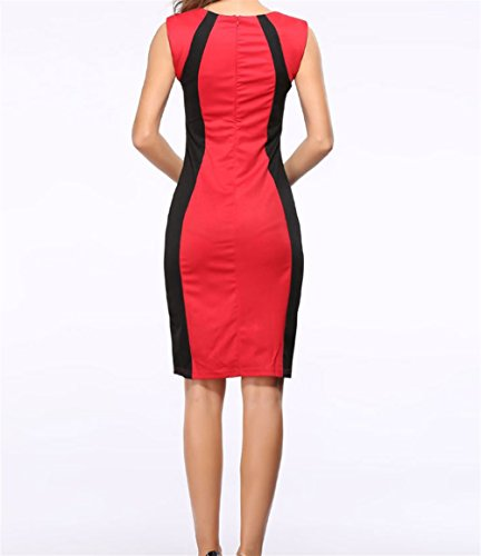 Les Weekendy Robe Jupe Paquet sans Couture Hanche Rond Femmes Col Red Manches Mode Robe pour Crayon arw4aOq