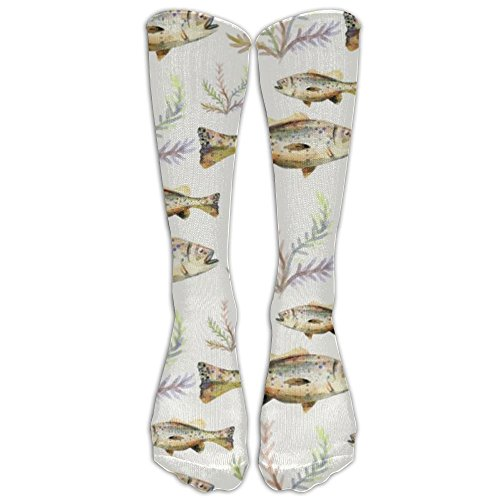 Most Fashion Maker Watercolor Bass Fish Seaweed Women & Men Knee High Socks Baseball Athletic Tube Long Stockings - Make Bass Tube