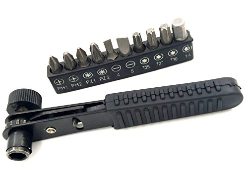 LONKER quick change connector 90 degree ratchet screwdriver socket wrench, Pocket Size Close-Quarters, 1/4-Inch Drive - bits+wrench (Ratchet Standard Screwdriver)