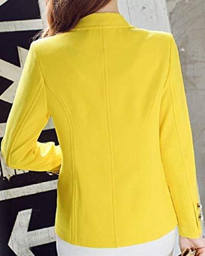 Anteriori Giacca Tasche Tailleur Giaccone Colori Button Solidi Slim Gelb Bavero Ovest Manica Giubotto Corta Confortevole Autunno Fit Da Donna Elegante qOtzR