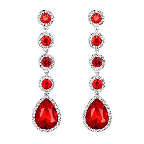 Jewelry Costume Formal (BriLove Wedding Bridal Dangle Earrings for Women Elegant Crystal Teardrop Chandelier Earrings Ruby Color Silver-Tone)