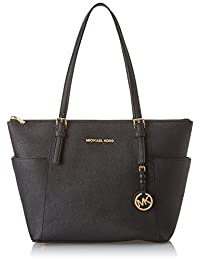 Michael Kors Women's Jet Set East West Top-Zip Leather Shoulder Tote