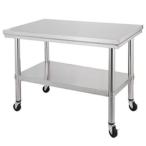 Happybuy NSF Stainless Steel Work Table With Wheels X Prep Table - Stainless steel work table on casters