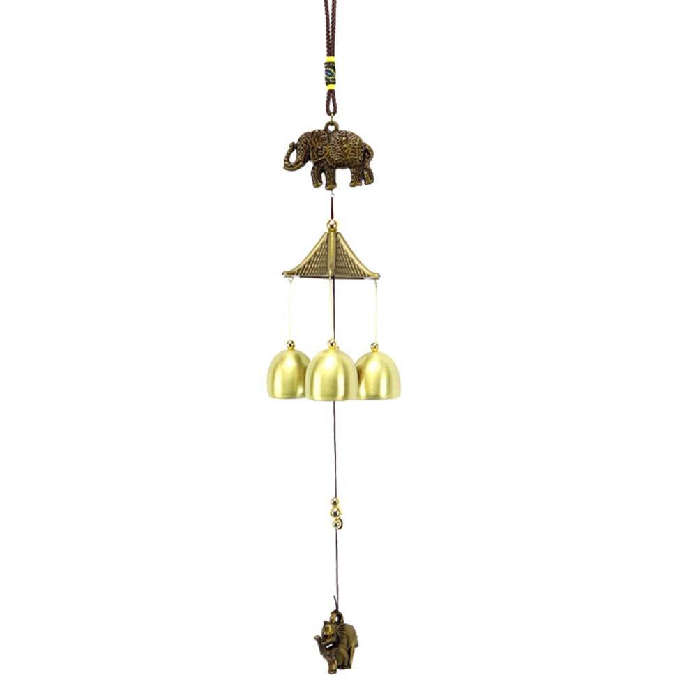 lightclub Vintage Elephant Metal Wind Chimes Antirust Bell Hanging Window Door Balcony Decor Bronze