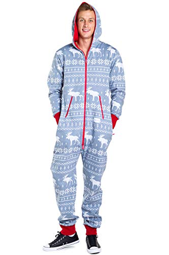 Tipsy Elves Men's Christmas Onesie Pajamas - Grey Moose Holiday Adult Jumpsuit: Large