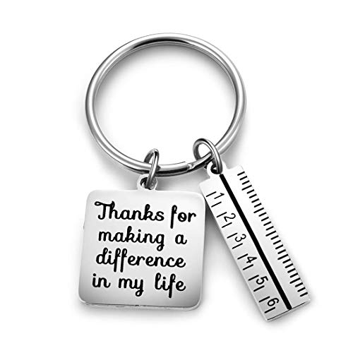 XGAKWD Teacher Appreciation Gift Keychain - Thanks for Making a Difference in My Life Teacher Key Chain for Women Men, Birthday Graduation Christmas Gifts for Teachers (Ruler)