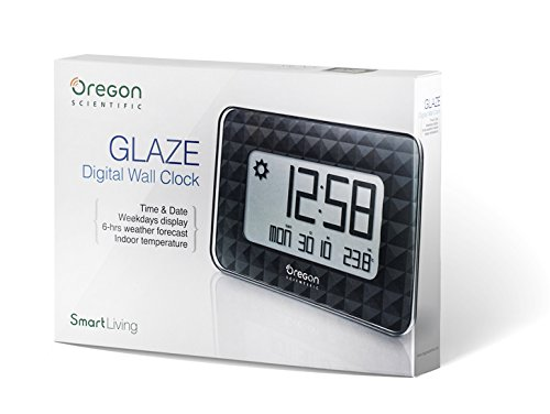 Oregon Scientific JW208_W - Reloj de Pared Digital GLAZE con termómetro y calendario, color Negro: Amazon.es: Salud y cuidado personal