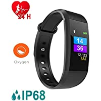 OPTA I9-SB-044 Rubber Bluetooth Fitnessband Smartwatch|All-in-One Activity Tracker|Blood Pressure|Heart Rate|Multi-Sport Mode|Sleep Monitor (Medium, Black)