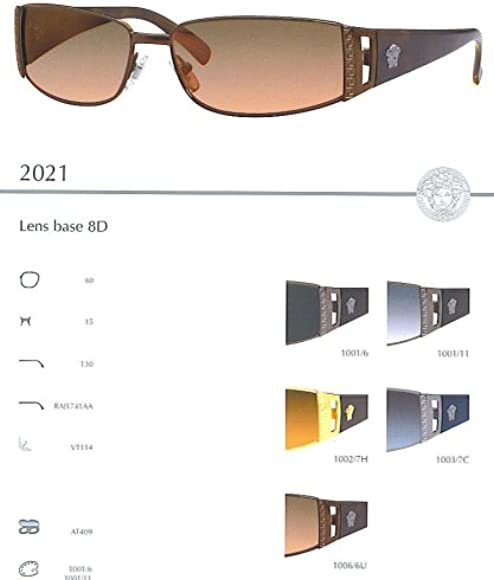 Amazon.com: Versace 2021 Sunglasses(Color-Code=1006/6U ...