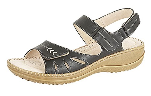 Halter Lining Ladies Sock sandal Leather Fastening Three Touch Black Back amp; 66wtOpq