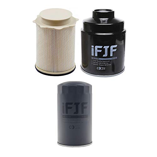 iFJF Diesel Fuel Filter Water Separator And Oil Filter Set for Dodge Ram 6.7L 2500 3500 4500 5500 6.7L Cummins Turbo Diesel Engines 68197867AA 68157291AA 5083285AA ()