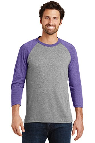 District Made Men's Perfect Tri 3/4-Sleeve Raglan DM136 Purple Frost/Grey Frost Large