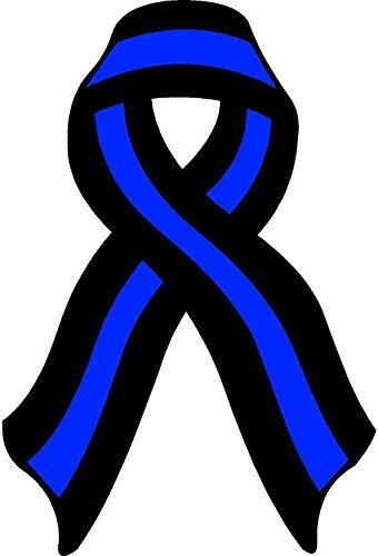Thin Blue Line Ribbon Decal Law Enforcement Memorial Police Vinyl Sticker Car Bumper Window Cop - Memorial Ribbon
