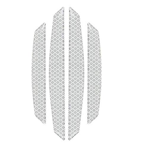 Bumper Reflective - ZYTC 4pcs 3D Super Reflective Stickers Carbon Fiber Strips Car Side Door Edge Bumper Anti-Scratch Protection Guards Trim Stickers Universal (Diamond White)