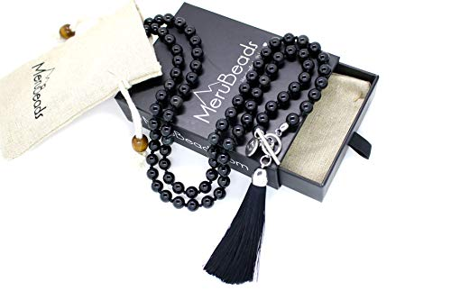 - MeruBeads 8mm Wrap Mala - Obsidian Mala Beads Necklace - Japa Mala Necklace - Obsidian Necklace - Black Gemstone Necklace