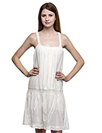 One Femme Women's Cotton White Mini Dress with Lace work