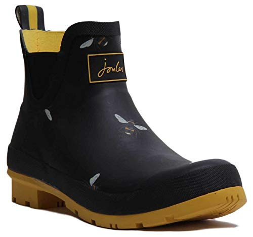 - Joules Wellibob Short Wellies 4 Black Botanical Bees