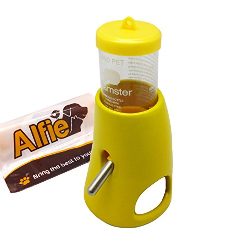 (Alfie Pet - 2-in-1 Water Bottle with Hut for Small Animals Like Dwarf Hamster and Mouse - Color: Yellow)