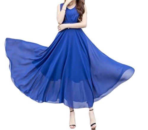 Bltr-femmes Taille Empire Sans Manches V-cou En Mousseline De Soie Ligne Robe Bleu Royal