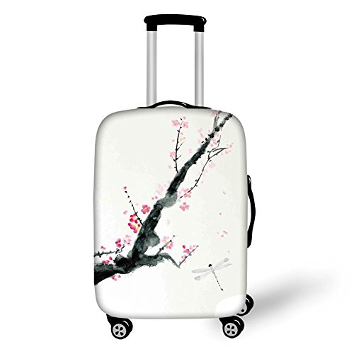 Travel Luggage Cover Suitcase Protector,Dragonfly,Branch of a Pink Cherry Blossom Sakura Tree Bud and A Dragonfly Dramatic Artisan,Pink Black,for Travel (Cherry Rockford)
