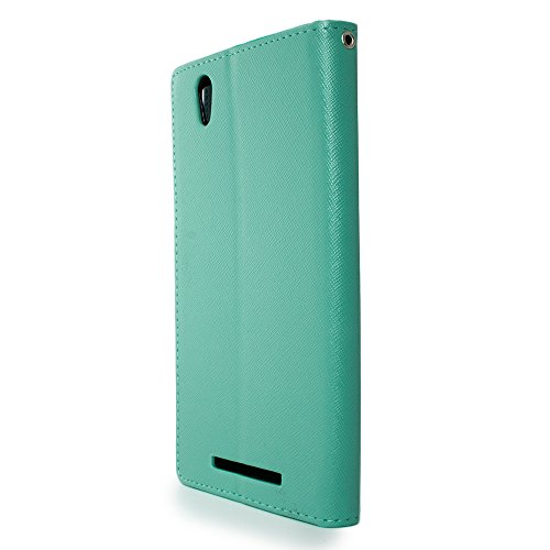 ZTE Zmax Wallet Phone Case and Screen Protector | CoverON (CarryAll) Pouch Series | Tough Textured Exterior (Teal / Navy Blue) Flip Stand Cover with Credit Card and Cash Holder Slots for ZTE Zmax Z970 by CoverON (Image #2)