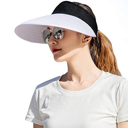 Sun Visor Hats Women Large Brim Summer UV Protection Beach Cap White