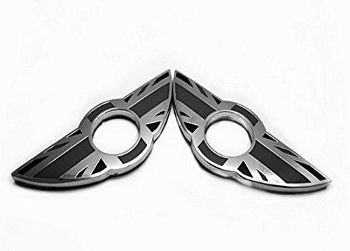 iJDMTOY (2) Union Jack Style Wing Emblem Rings For MINI Cooper R55 R56 R57 R58 R59 Door Lock Knobs, Black/Grey UK Flag Design (Does not fit R60 R61 nor F55 F56 models)