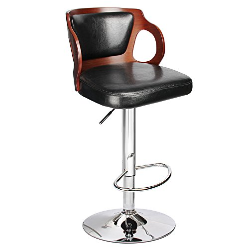 Homall Bar Stool Walnut Bentwood Adjustable Height Leather Bar Stools with Black Vinyl Seat Extremely Comfy with Seat Back Pad (Walnut Set of 1)