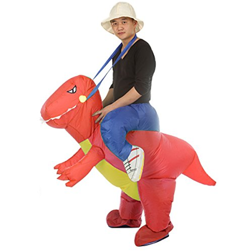 Inflatable Rider Costume Riding Me Fancy Dress Funny Dinosaur Unicorn Funny Suit Mount Kids Adult (Adult(150-200CM), Red)