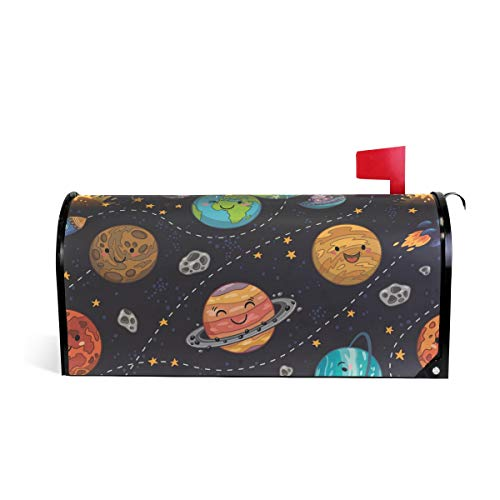 (WIHVE Mailbox Cover Cartoon Space Solar System Magnetic Post Box Cover Wrap Home Decoration)